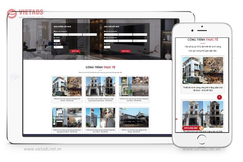 Thiết kế website công ty xây dựng, kiến trúc đẹp chuẩn SEO