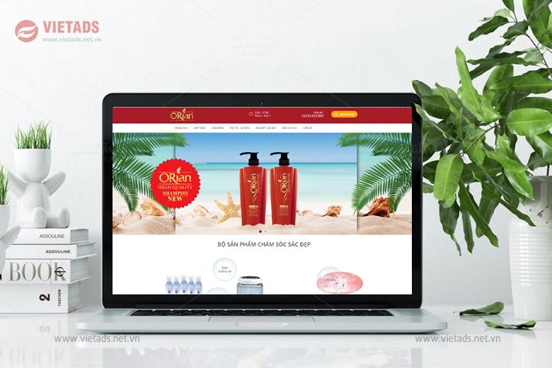 Mẫu thiết kế website mỹ phẩm, dầu gội Orian