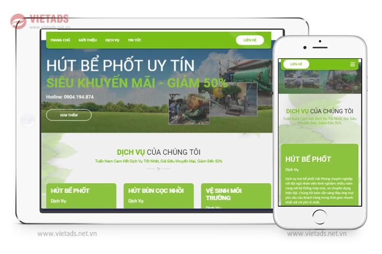 Mẫu thiết kế website hút bể phốt đẹp, chuẩn SEO
