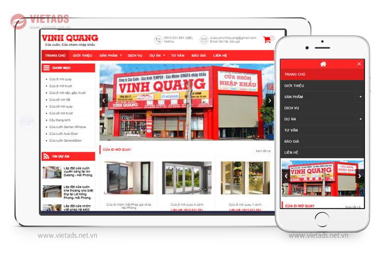 Mẫu website bán cửa nhôm, cửa cuốn