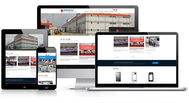 Mẫu thiết kế web nhà máy, xí nghiệp tương thích với các thiết bị di động